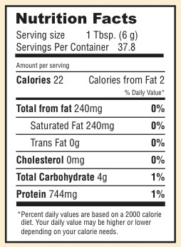 nutrition facts for Highlove Vitality's Cacao Bliss superfood blend