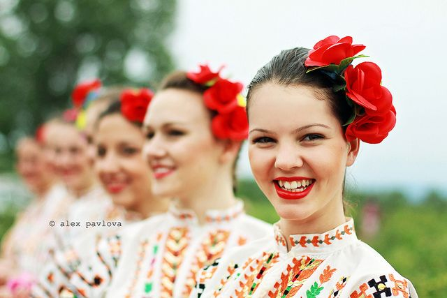 Bulgarian girls with roses in their hair